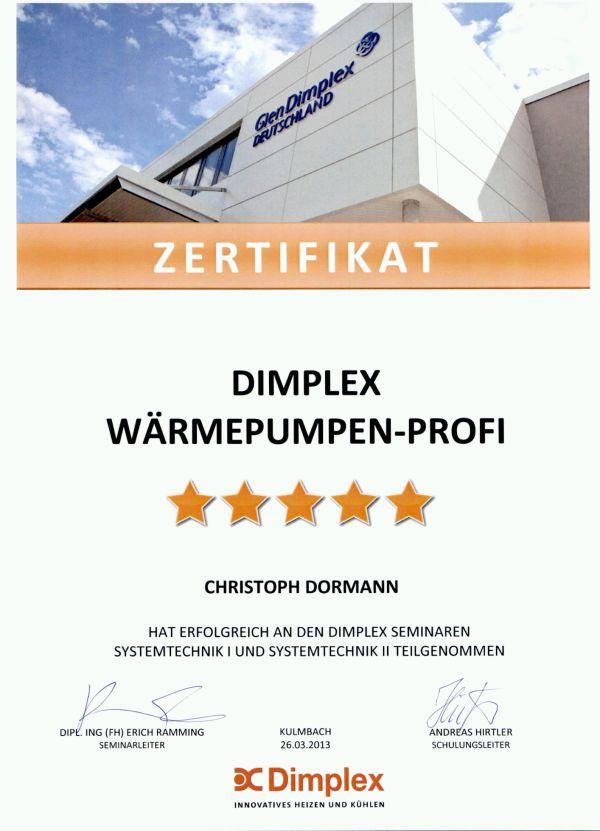 Dimplex - Zertifikat