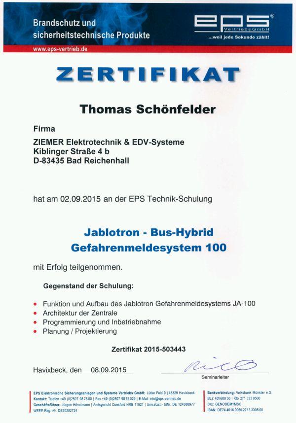 EPS-Technik Zertifikat