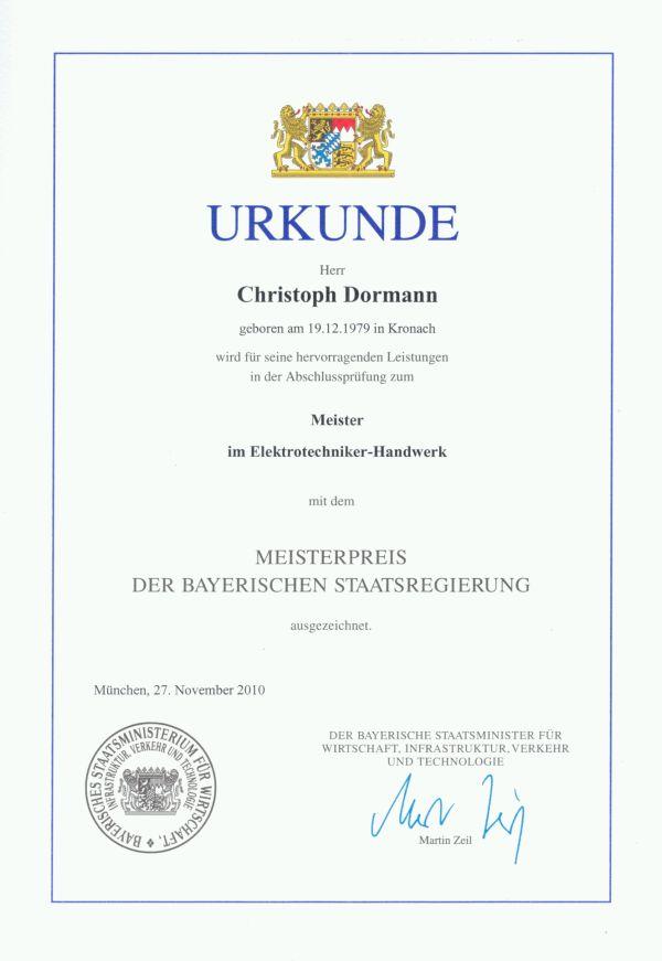 Urkunde Meisterbrief
