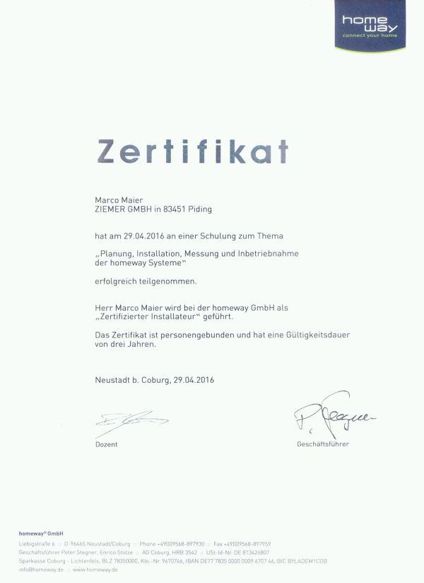 Homeway-Zertifikat